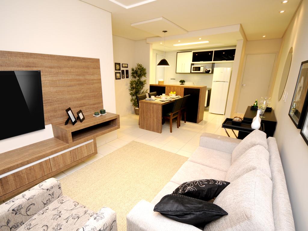 Sala e cozinha integrada (71,5m², 3 dorms.)