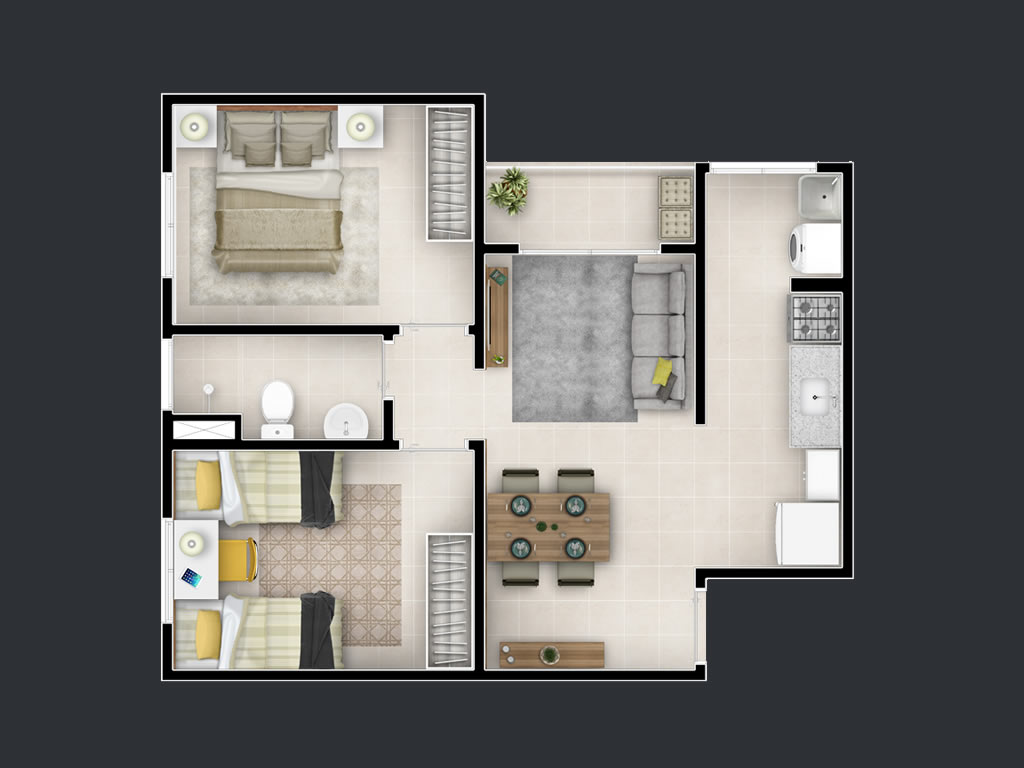 2 dorms (48m²)