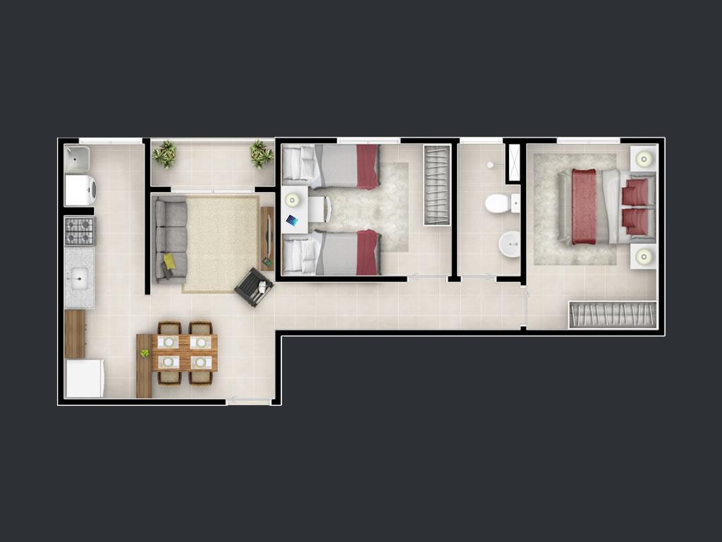 2 dorms (51m²)