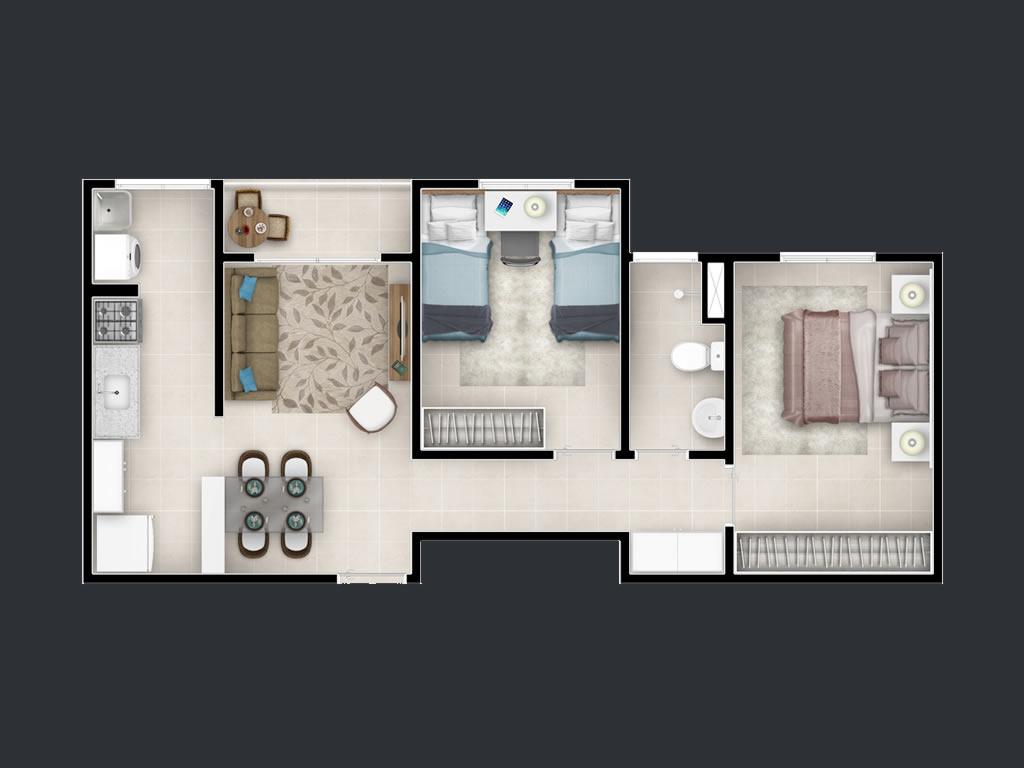 2 dorms (53m²)