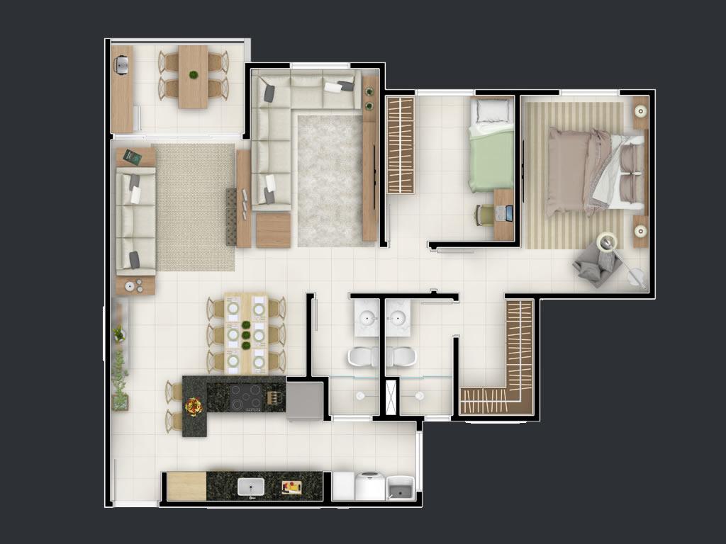 3 dormitórios (Ampliado)